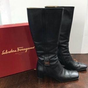 Ferragamo Black Leather Boots with Box